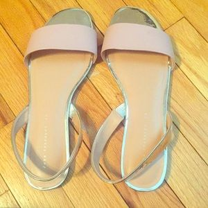 Zara Trafaluc silver and blush sandals